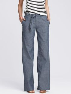 Chambray Tie-Front Wide-Leg Pant