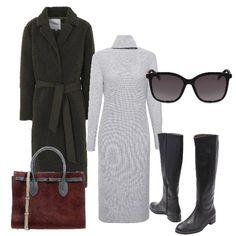 e85651daf00 Cappotto con cintura abito in maglia a dolcevita stivali in pelle nera e  borsa a mano