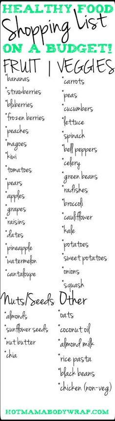 Healthy Food Shopping List on a Budget!http://hotmamabodywrap.com/healthy-food-shopping-list-on-a-budget/