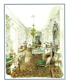 Interior - Mark Hampton - The Manhattan drawing room of Rose Cumming Interior Design Sketches, Interior Rendering, Decor Interior Design, Elegant Home Decor, Elegant Homes, Sunroom Furniture, Unique House Design, Drawing Room, Beautiful Interiors