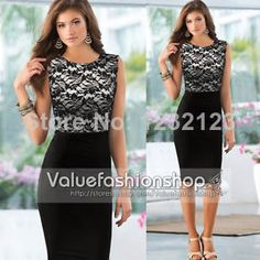 2014 Womens Elegant Pinup Floral Lace Colorblock Tunic Bodycon Pencil Shift Dress US $13.49