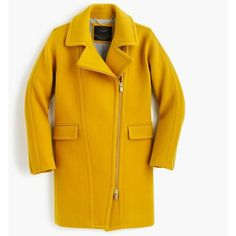 J.Crew Zippered Coat (4.095 NOK) ❤ liked on Polyvore featuring outerwear, coats, yellow coat, zipper coat, asymmetrical zip coat, motorcycle coats and leather-sleeve coats