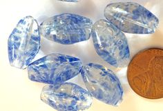 VIntage Czech beads (4) large glass Clear blue splotch spots  sort of diamond  twist blue clear 17mm beads (4) by a2zDesigns on Etsy
