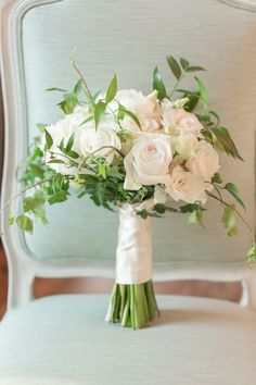 Spring bouquet with white garden roses and greenery, from a real wedding at @Highg - photo by @jamieblow / as seen on @SthrnBrideGroom SouthernBrideandGroom.com