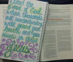 Philippians 4:7 Yes Jesus Loves Me, Philippians 4 7, Scripture Doodle, Psalm 119 105, Bible Journal, New Testament, Journal Inspiration, Psalms, Bible Verses