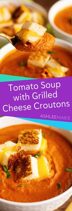 Nothing is better during any season than homemade tomato soup; it's fast, easy, creamy, and delicious warm or cold. Packed with flavor, this how-to tomato basil soup recipe is made even better with the addition of grilled cheese croutons. Crouton Recipes, Soup Recipes, Recipies, Tomato Soup Grilled Cheese, Creamy Tomato Basil Soup, Tomato Tomato, Real Food Recipes, Cooking Recipes, Chili Soup