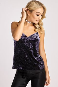 FIORELLA MIDNIGHT BLUE CRUSHED VELVET CAMI TOP