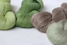 Set of 4 linen skeins  green-grey mix by YarnStories on Etsy