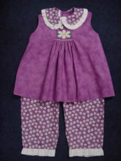 """Patterns:  Shirt is """"Amy"""" by Kay Guilds & the pants are """"Charlotte"""" by Children's Corner"""