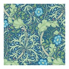 Morris Seaweed Wallpaper ($87) ❤ liked on Polyvore featuring home, home decor, wallpaper, cobalt blue home decor and pattern wallpaper