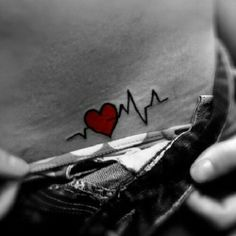 medical tattoo heart: cute idea but that QRS is too wide for my preference                                                                                                                                                     More