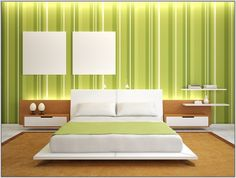 All Coating This room with a bright green coloured striped wall gives a sense of tranquillity and freedom. Turn your room into a soothing and comforting place by painting your wall in light and dark green stripes along with traces of white like this.