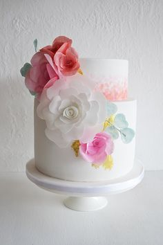 Summer Wedding cake with rice paper look flowers