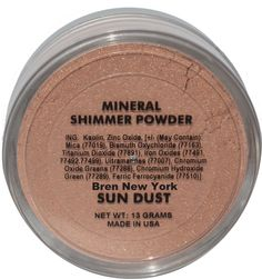 Shop for Mineral Makeup Sun Dust Mineral Shimmer Powder Bren New York Unique light reflecting mineral shimmer powder will give you a luminous glow. Mineral Cosmetics, Shimmer Eyeshadow, Mineral Powder, Unique Lighting, Iron Oxide, Face And Body, Dyes, Fragrances