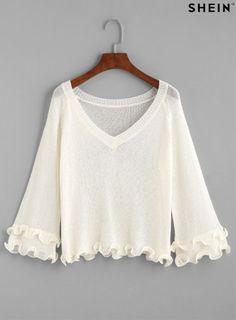 White V Neck Ruffle Hem Sweater