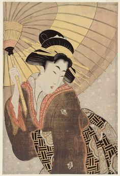 Woman with Umbrella in Snow Artist Unknown, Japanese Attributed to Kitagawa Utamaro I, Japanese, (?)–1806 Japanese