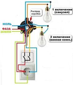 Схема установки розетки с выключателем в одном корпусе Electrical Wiring Outlets, Electrical Wiring Colours, Electrical Plan, Home Engineering, Electrical Engineering, 3 Way Switch Wiring, Flat Plan, Electrical Circuit Diagram, Garden Solutions