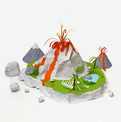Printable paper volcano from Mr. Printables for pretend play.