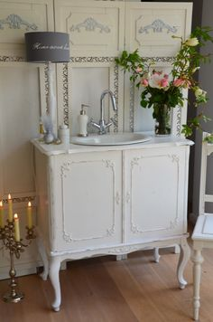 Shabby Chic love this dresser turned into a sink!