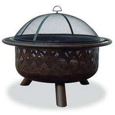 "Blue Rhino 32"" Outdoor Firepit with Oil Rubbed Bronze Bowl and Criss-Cross design provides more heat and more atmosphere, Easy tending and cleaning,"