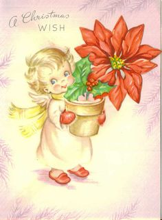 Vintage Christmas Card, Angel with Growing Poinsettia, A Christmas Wish, Unused