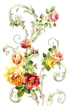 Nice idea for soft floral tattoos Botanical Flowers, Botanical Prints, Floral Prints, Images Lindas, Vintage Diy, Floral Motif, Pattern Art, Vintage Flowers, Watercolor Flowers