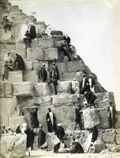 Felix Bonfils, Tourists Climbing the Pyramid of Cheops in Giza, 1870