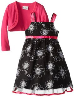 f4dc5ae5ef1 Rare Editions Little Girls  Floral Embroidered Dress with Fuchsia Knit  Cardigan (4) Rare