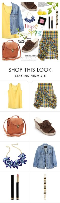 """""""denim jacket.wedge sandals.chiffon vest.ruffle skirt- yoins 10"""" by cly88 ❤ liked on Polyvore featuring MSGM, Barneys New York, Bobbi Brown Cosmetics, Kate Spade, Y/Project, Gucci and Orla Kiely"""