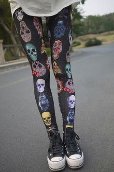 Leggins her leggings Skull Leggings, Tight Leggings, Printed Leggings, Skull Fashion, Gothic Fashion, Look Fashion, Womens Fashion, Street Fashion, Grunge