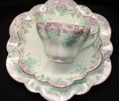 SHELLEY FOLEY CHINA WILEMAN SNOWDROP VIOLETS TEA CUP AND SAUCER TRIO