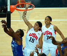 Images from the United States' win over France. The Americans became the first women's team ever to win five straight Olympic gold medals.