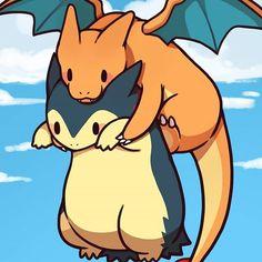 A very kawaii Typhlosion and Charizard to end the day on 💕 Pokemon Go, Chibi Pokemon, Kalos Pokemon, Pokemon Comics, Pokemon Fan Art, Pokemon Charizard, How To Draw Pokemon, Pokemon Facts, Pikachu Art