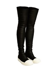 Rick Owens Womens Thigh High Sneaker Boots / LN-CC ▶ #female #fashion #shoes #boots #black #leather #sneaker #style #punk #goth #foot #reference