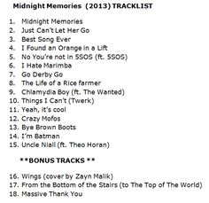 A joke tracklist for midnight memories. these are hilarious. Best Song Ever, Best Songs, Let Her Go, Let It Be, Midnight Memories, Five Guys, I Love One Direction, 1d And 5sos, Little Mix