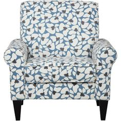 Dana Floral Rolled Arm Accent Chair, Multiple Colors