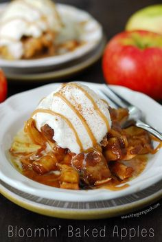 Bloomin' Baked Apples taste like apple pie with an ooey, gooey caramel center! This is an easy dessert recipe for fall and it's made with Honeycrisp apples.