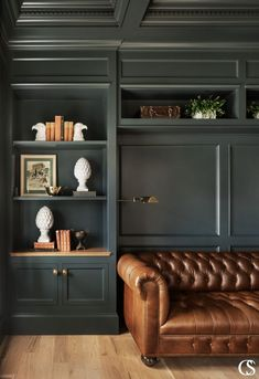 Home Library Design, Home Office Design, House Design, Library Art, Vintage Library, Vintage Books, Built In Cabinets, Green Cabinets, Custom Cabinets
