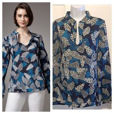 """Tory Burch Stephanie Seashell Print Tunic This tunic by Tory Burch brings the ocean to your wardrobe with rich blue tones and seashell print. Small stand collar and V neckline. Long, bell sleeves, banded cuffs. Relaxed fit with handed hem. Measurements: bust 20"""", across shoulders 17"""", sleeves 25"""", length 26.5"""". 100% cotton. Tory Burch Tops Tunics"""
