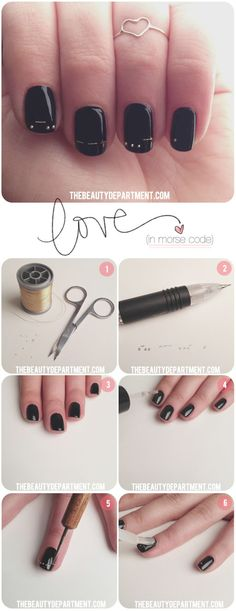 "Morse code ""love"" nails. 28 Nail Tutorials Best Ideas For This Summer, Black Polish Nials"