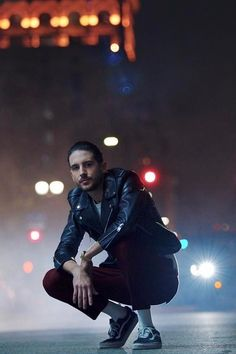 G-Eazy wearing Saint Laurent Leather Moto Jacket, Vans Old Skool Sneakers