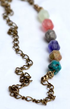 Mulit-colored Glass Bead Necklace. $40.00, via jenndubs on Etsy.