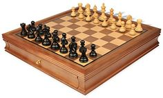 Fierce Knight Staunton Chess Set in Ebonized Boxwood with Walnut Chess Case  3 King -- You can find out more details at the link of the image.