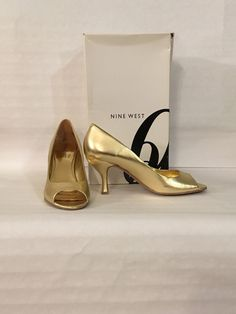 26af89c4b11a Nine West Women shoes Size- 8 Medium Color Metallic Gold Formal Wear Used   fashion