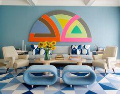 Интерьер, Современный, Гостиная,  геометрические принты,голубой,декор,мебель,сочетание цветов,