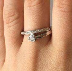 Inel din argint rodiat cu inimioara <3 Silver Rings, Wedding Rings, Engagement Rings, Model, Jewelry, Fashion, Enagement Rings, Moda, Jewlery