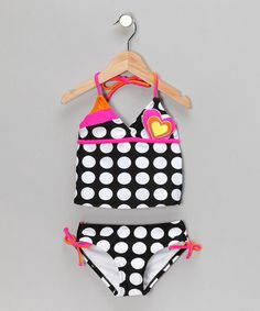 Take a look at this Black & Pink Polka Dot Tankini - Girls by Swimsuit Station on #zulily today!