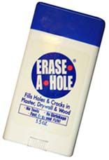 Erase-A-Hole allows you to patch holes in drywall, plaster, and wood in two easy steps.