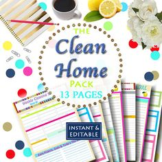 INSTANT Download - Cleaning Printable Set - Home Management Binder - 13 Documents #cleaningprintables #cleanhome #organizing #cleaningroutine #cleaningschedule #printables #homemanagement