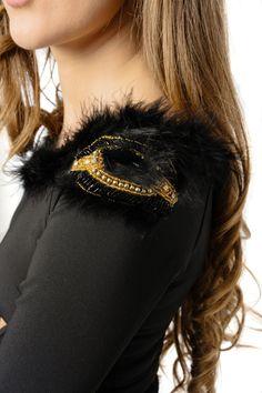 Long sleeved 3/4 bodycon party dress- shoulder detail Rochie petrecere (Revelion)- detaliu umar